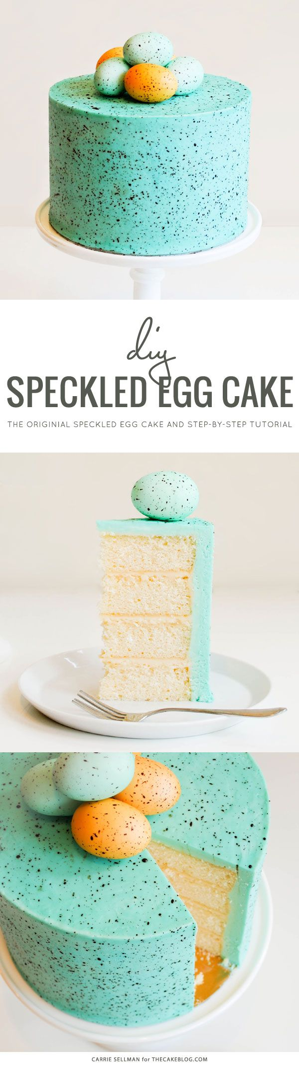 The original Speckled Egg Cake! Learn how to make a Speckled Egg Cake, perfect for your Spring and Easter celebrations. Robin's egg blue with chocolate brown speckles. A DIY cake tutorial by Carrie Sellman.