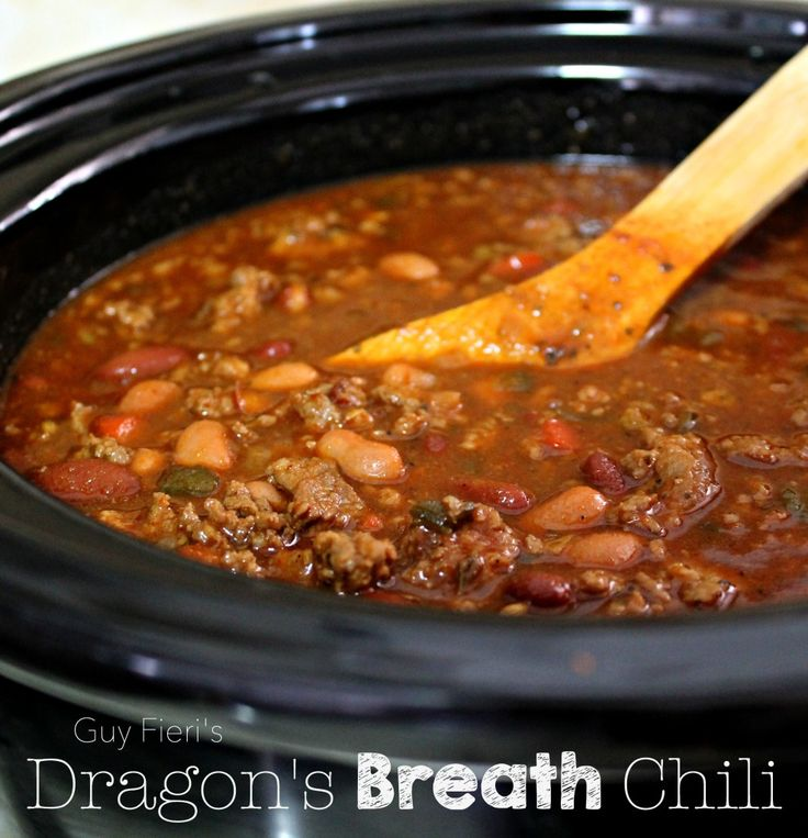 Guy Fieri's Dragon's Breath Chili...made this today finished cooking in the crock-pot on low.  Cut the peppers back to 2 poblano, 2 anaheim, and 1 jalepeno.  Still has plenty of heat!  Very good meaty chili.  Will make again!