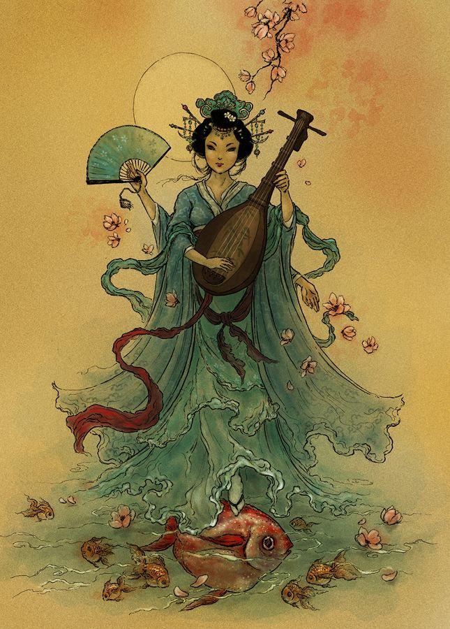 Benzaiten - Deusa japonesa do amor, eloqüência, sabedoria, artes, música, conhecimento, boa sorte e água. Ela é a padroeira das gueixas, dançarinos e músicos. Originalmente ela era uma deusa do mar e das águas, cuja imagem era deixada em muitos locais perto de lagos. Benzaiten é a única mulher entre os Sete Deuses da Sorte do Japão.