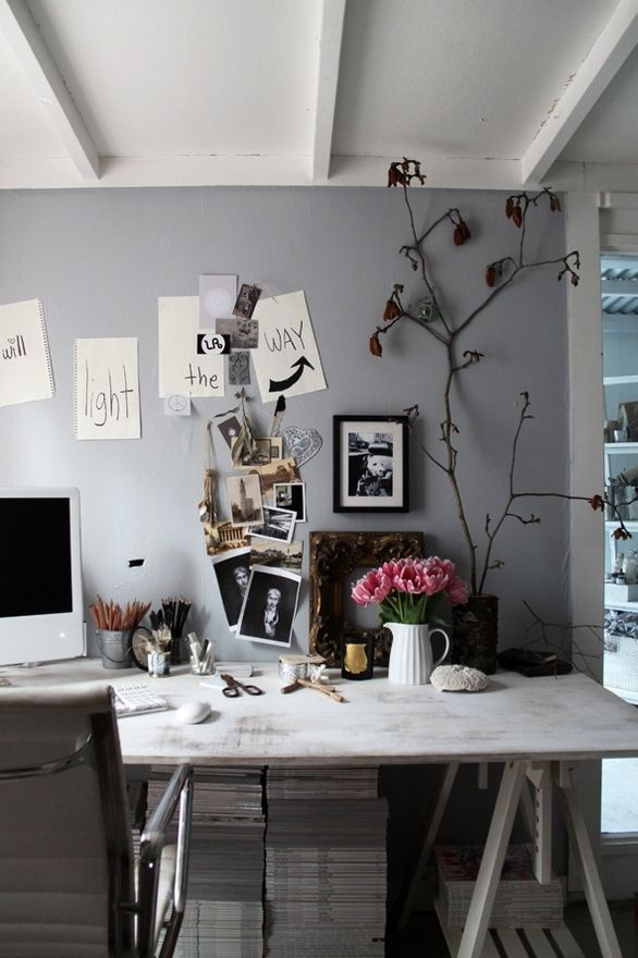 Workspace with light grey wall