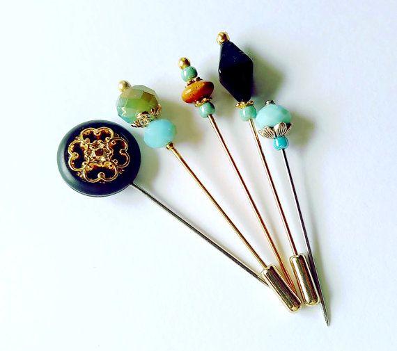 Midnight Blues  Lapel Pin Hijab Pin Hat Pin by haniyyajewelz