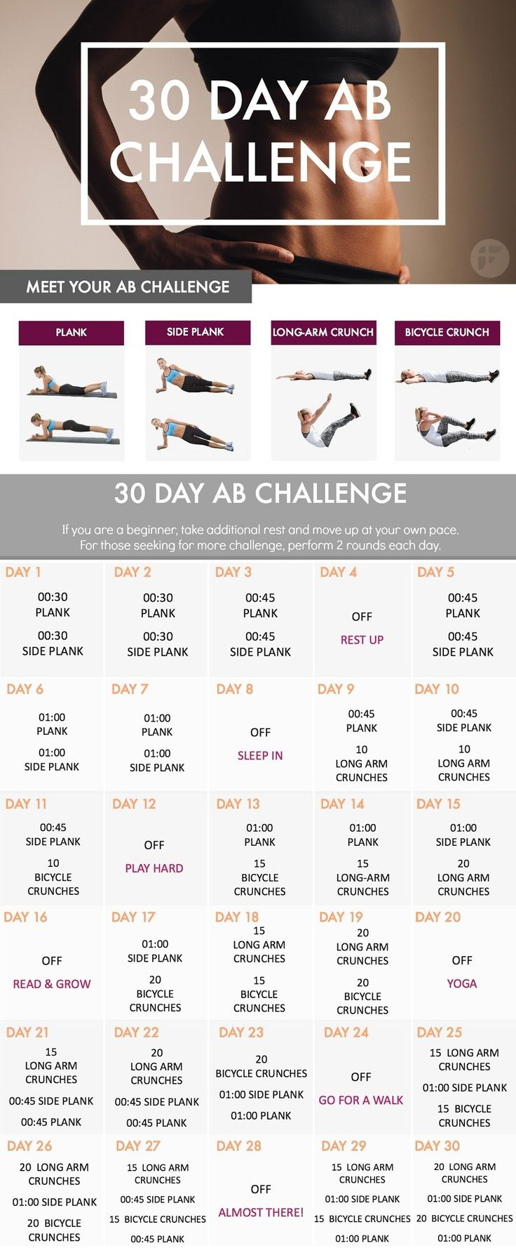 This 30-day ab challenge is the best way to lose belly fat and strengthen your core muscles. Most of the people think that the abs are probably the most important muscle group in the body. All of you, whether you care about having toned abs or not - train