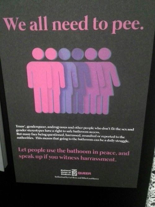 I was just asked what to do about this situation at a disability law conference. I assured the questioner that being transgendered is not a disability and forcing a young person who knows she is a girl despite her sex organ to use the male bathroom could be traumatizing to her. This seems so simple to me. Why can't we just all be people about this?!