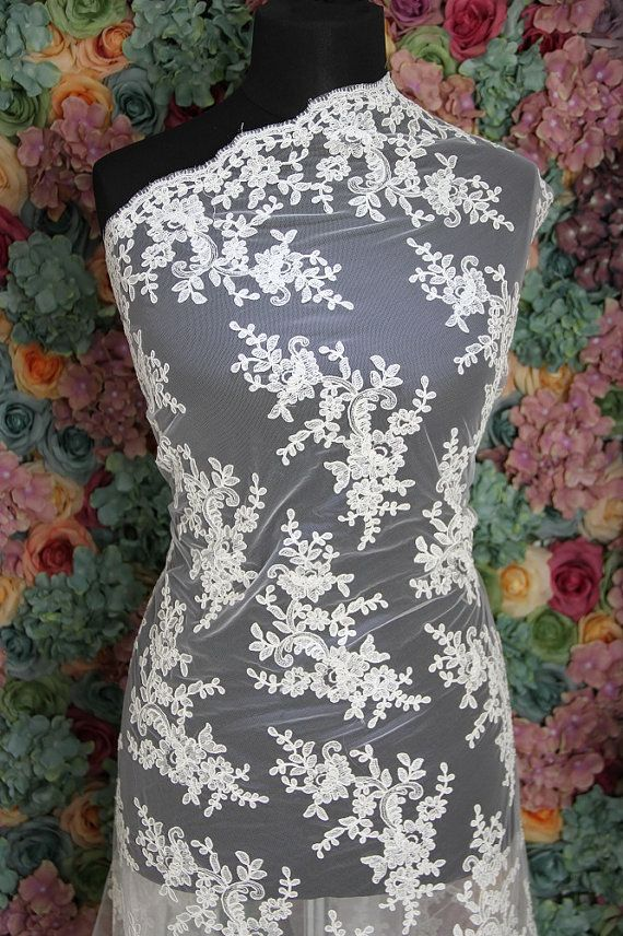 Ivory French Corded Lace | Bridal Fabric | Free Delivery within UK