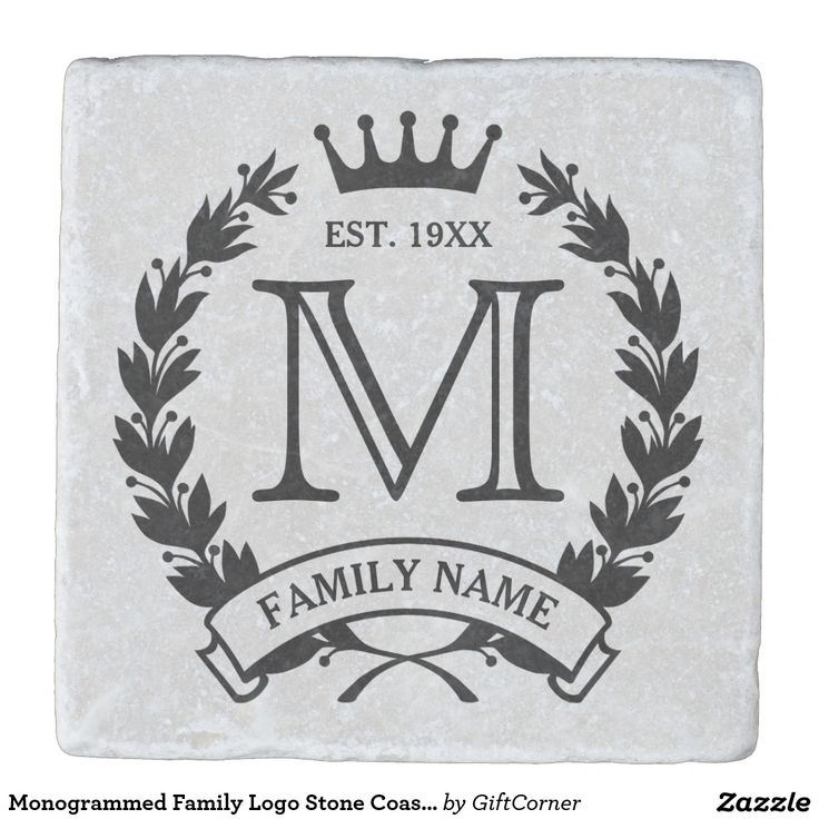 Monogrammed Family Logo Stone Coaster. Laurel wreath and crown logo. Enter your initial, last name/short text and year established. Great housewarming/special occasion/holiday gift for a family. Artwork designed by Gift Corner.