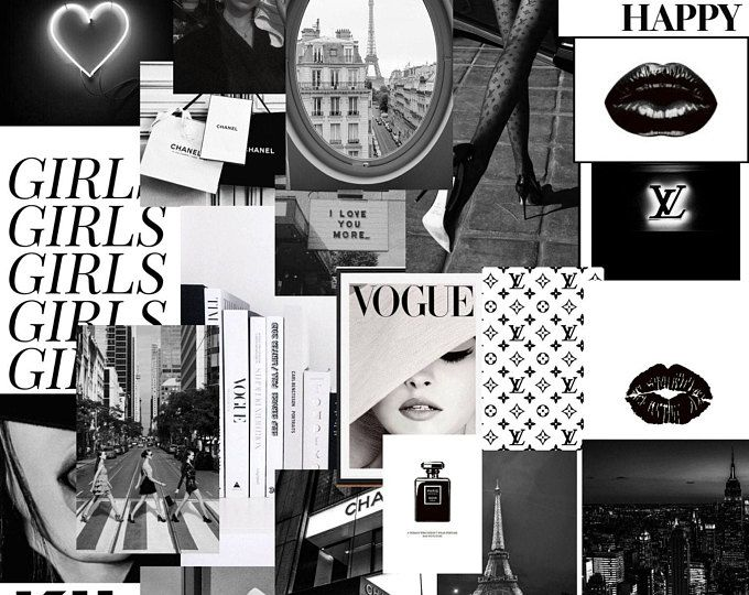 Pink Glow Collage Kit Black And White Aesthetic Wall Collage Aesthetic Desktop Wallpaper