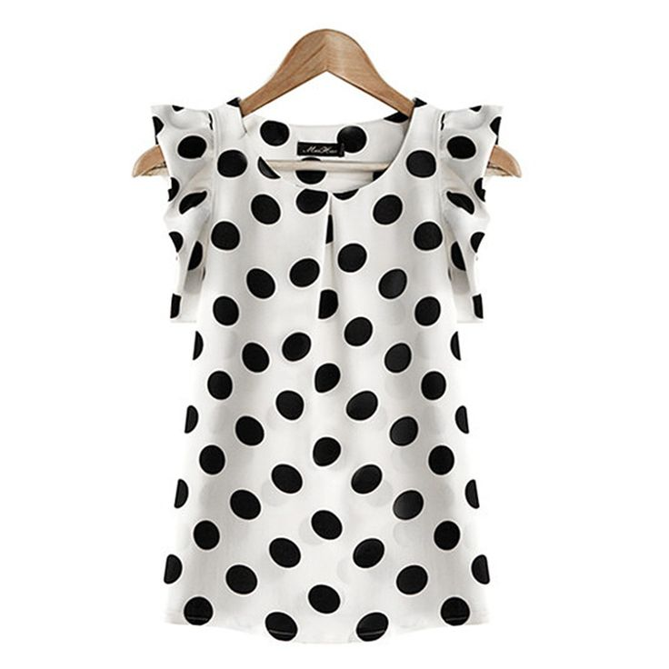 2016 Fashion Women Printed Polka Dot Casual Chiffon Blouse Puffed Short Sleeve Shirt Summer Tops