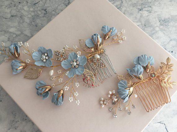 Blue Bridal Hair Combs Something Blue Wedding Accessories Bride