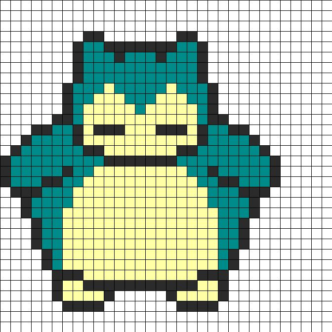 Snorlax Perler Bead Pattern | Bead Sprites | Characters Fuse Bead Patterns