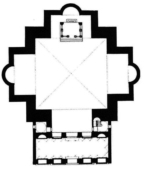 Leon Battista Alberti, San Sebastiano, Plan, Mantua, Italy, 1455-1460