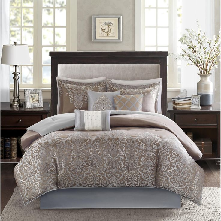 Add sophistication and style to your master bedroom or guest room with this Camille seven-piece comforter set by Madison Park. An eye-catching jacquard design adds an elegant look to your space, while