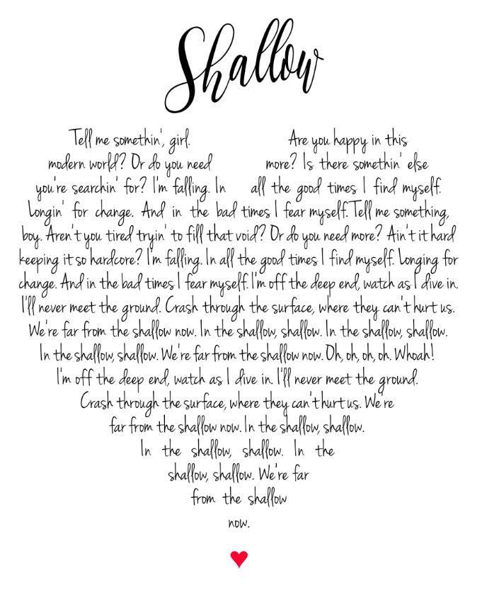 Shallow Lyrics Wall Art Citazioni Testi Di Canzoni Citazioni Di Canzoni Citazioni Lady Gaga