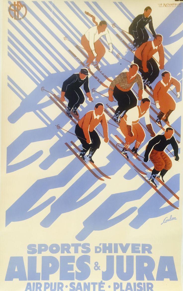 Sports d'hiver, Aples et Jura. Another Art Deco vintage poster