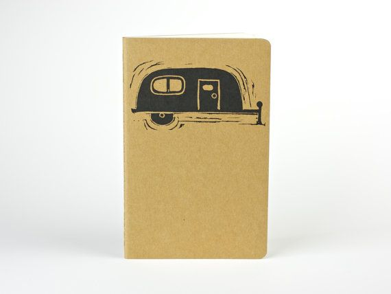 Cozy Camper, Moleskine, Travel journal. Small journal with inner pocket. Stationery. Notebook. Camping Journal