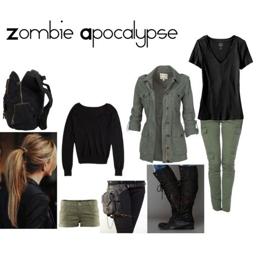 Zombie apocalypse outfit I love.everything but the shorts. Im not wearing any shorts well there are zombies trying to bit me.