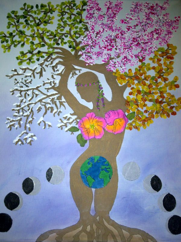 Woman as Tree 4 Seasons (mixed media on canvas)