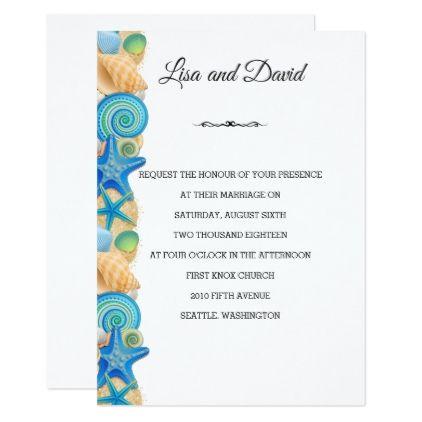 Wedding Invitation-Beach Shells Card - wedding invitations cards custom invitation card design marriage party