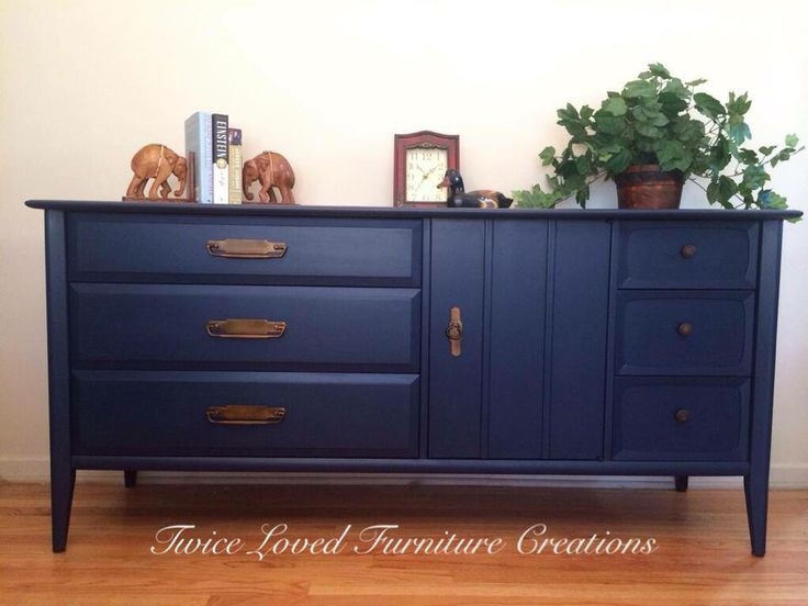 Mid Century Dresser Painted Navy Blue By Twice Loved