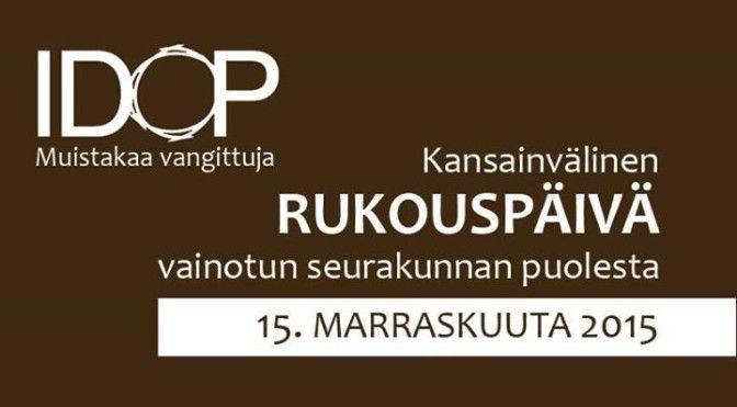 Helsingin Vanhassa kirkossa (Lönnrotinkatu 6) pidetään rukoustilaisuus vainotun seurakunnan puolesta sunnuntaina 15.11. 2015 klo 18.00. Rukoilemme erityisesti Syyrian ja Irakin kristittyjen puolesta. Tervetuloa!  Tapahtumassa ovat mukana muun muassa pakolaisasiantuntija Kari Tassia (YWAM), Jouni Lehikoinen (Turun Mikaelinseurakunta), Juhani Huotari (Marttyyrien Ääni), Miika Auvinen (Open Doors), Pirkko Säilä (Patmos Lähetyssäätiö), Antero Laukkanen (eduskunta) ja ulkomainen asiantuntija…