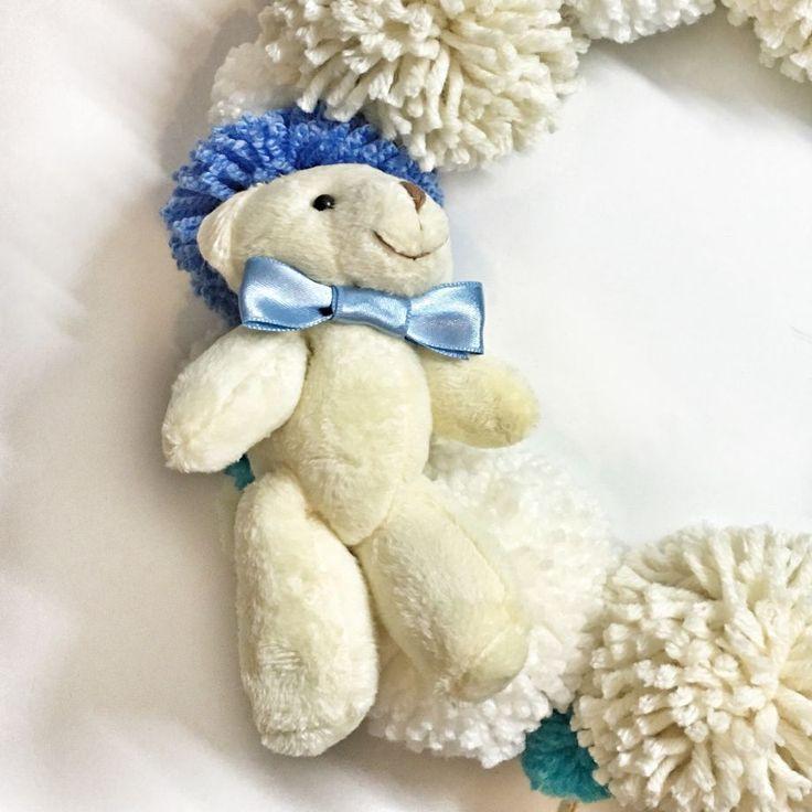 Ponpon kapı çelengi  Erkek bebek yada kız bebek için hazırlanabilir..İstediğiniz renklerde tasarlanabilir..İsim.... 377258