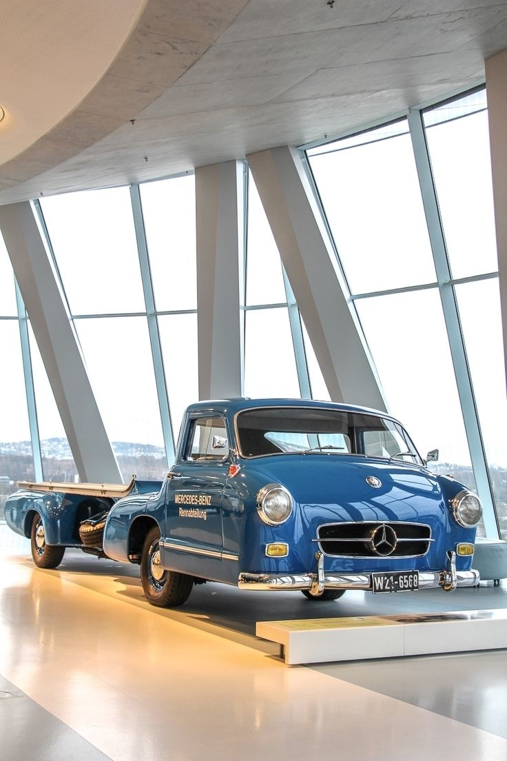 "This special high-speed transporter for racing cars,  also called the ""Blue Wonder"", was a one-of-a-kind specimen built by the Mercedes-Benz testing department. As the original no longer exists, the vehicle was completely reconstructed. Some Facts? 3.0 Liter, 6 cylinder, 191 hp, top speed 170 km/h / 106 mph! Photo by @JensStratmann  #Mercedes #MBCar #MercedesBenz #MBTruck #Truck #Blue"