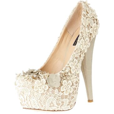 high heels shoes white laces pumps heels cream    wonder if i can pull this off on my wedding? ahahaha