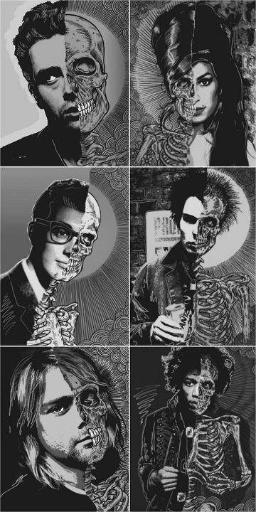 Celebrities and skeletons Collage art, Pop art