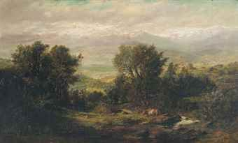 Thomas Jacques Somerscales (1842-1927) A valley in Chile, the Andes beyond signed and dated 'TJ [TJ in monogram] Somerscales / 1875' (lower left) oil on canvas 21 ¼ x 35 ½in. (54 x 90cm.)