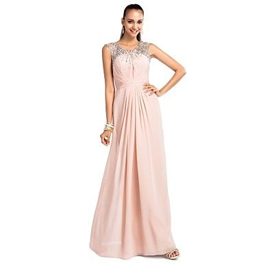 TS+Couture®+Prom+/+Formal+Evening+/+Military+Ball+/+Wedding+Party+Dress+-+Open+Back+Plus+Size+/+Petite+Sheath+/+Column+Jewel+Floor-length+Chiffon+–+GBP+£+70.55