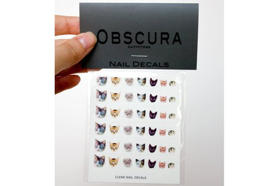 Cat Nail Decals by obscuraoutfitters on Etsy.