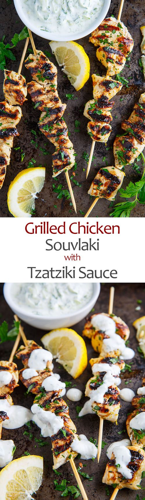 "GRILLED CHICKEN SOUVLAKI - ""A tasty Mediterranean lemon, garlic and oregano skewered grilled chicken that is perfect in pitas, in salads or right off the stick."""