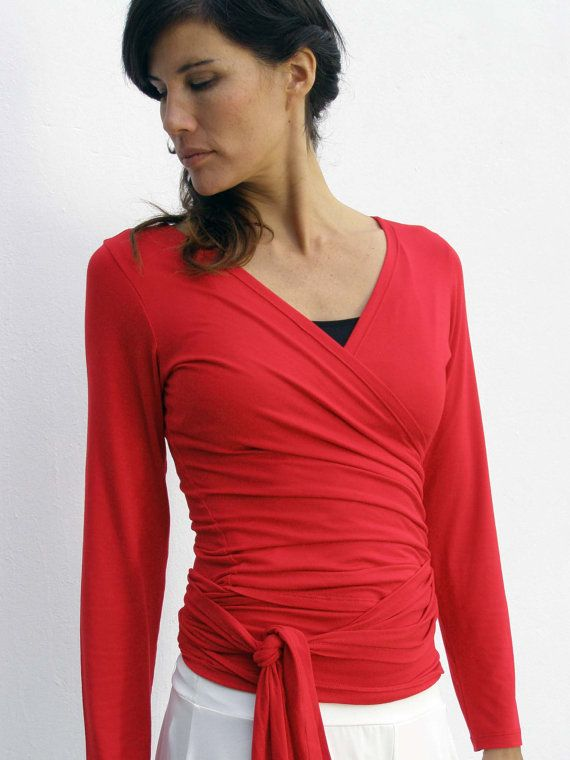 Etsy listing at https://www.etsy.com/listing/177521379/red-wrap-top-convertible-top-womens