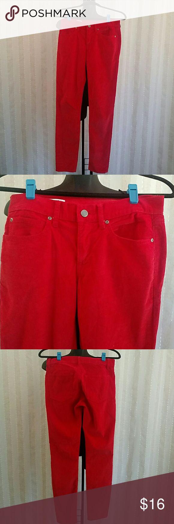 Gap 1969 legging Jean Red corduroy, legging jeans style, size 26 regular, button front closure, lightly loved GAP Pants
