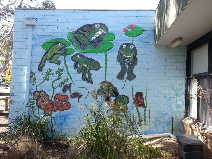 Life Cycle of a frog Mural. Mosaic Whole school Project