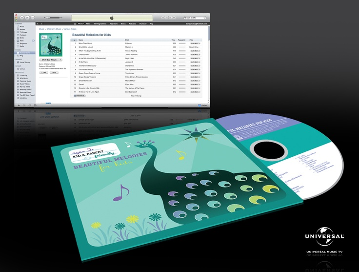 """""""Beautiful Melodies"""" - Universal Records CD design, part of a range of CD's aimed at Children. Design includes Inlay, onbody and illustration. Each CD has a specially designed game inside."""