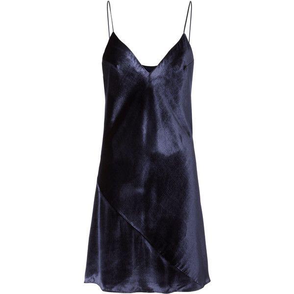 Velvet Slip Dress ($398) ❤ liked on Polyvore featuring dresses, navy, navy blue dress, v neckline dress, slip dress, blue v neck dress and v-neck dresses