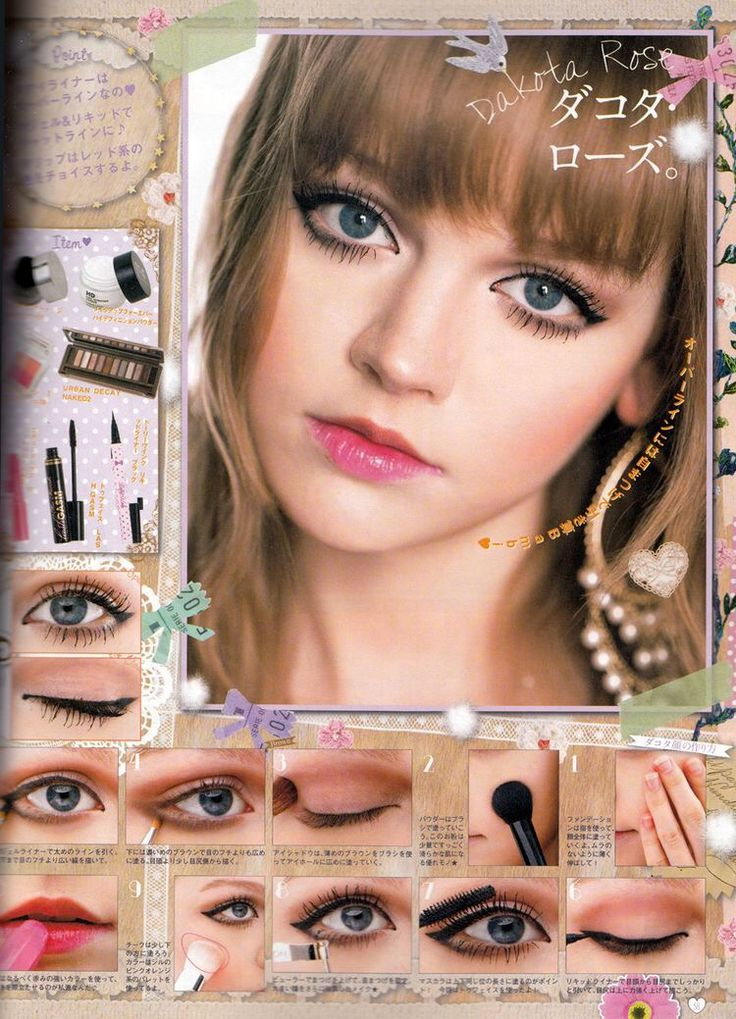 Dakota rose. Seems to be how she normally does her eye makeup. Apply a golden-brown eyeshadow all over your eyelid, tapering the color out slightly. Line your lower lash line with a brown eyeshadow, tapering the color out until it meets the golden-brown eyeshadow from before. Line your top lash line with a black pencil eyeliner, winging it out slightly. From the very tip of the 'wing', use the same black pencil eyeliner to line the outer 1/3 of your lower lash line.