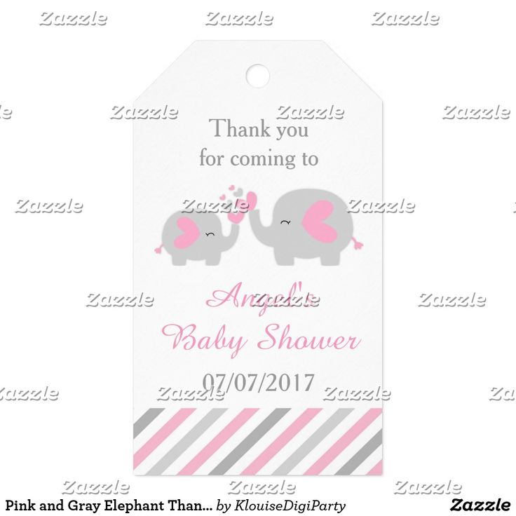 Pink and Gray Elephant Thank You Baby Shower Gift Tags