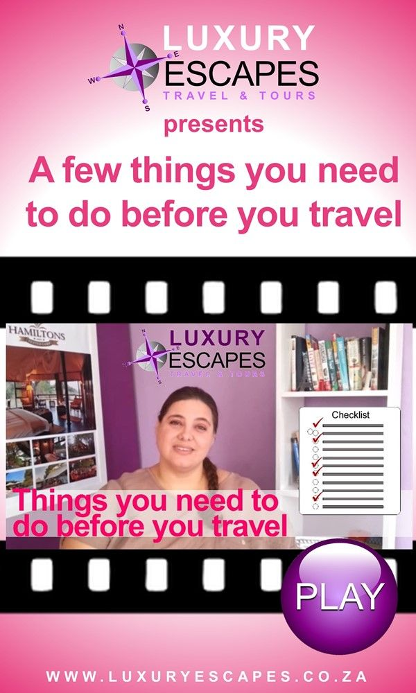 "Have you see our video on ""things you need to do before you travel""? Watch it now on https://youtu.be/gstr6H3Jma8 Thank you and enjoy!"