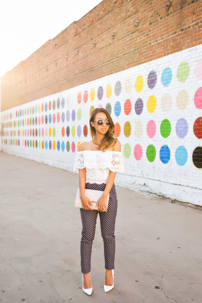 petite fashion blog, lace and locks, los angeles fashion blogger, spring fashion, high waisted pants, polka dot pants, white pumps, off the shoulder lace top