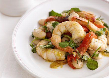 Garlic and rosemary prawns with white beans recipe - 9Kitchen