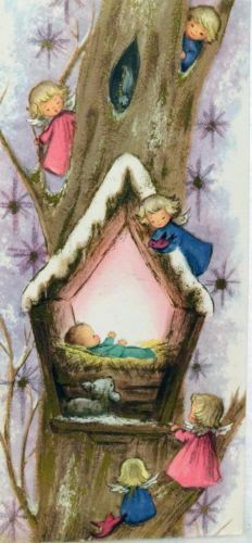 #1088 60s Sweet Pink Angel Girls & Jesus- Vintage Christmas Greeting Card