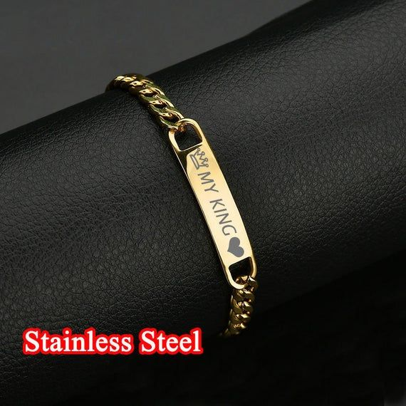 Dainty Memorial Bracelet with Personalized Engraved Bar for Men or Women in Stainless Steel ID Bracelet