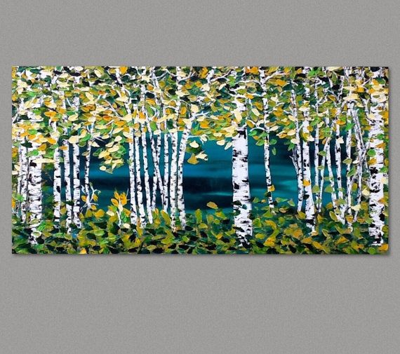 Birch Trees Painting Palette Knife Paintings on Stretched Canvas by Susie Tiborcz  FREE SHIPPING US  MADE TO ORDER  If you have any questions, please feel free to ask at an... #trending #etsy
