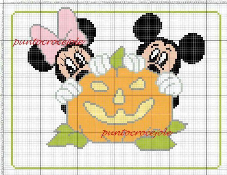Minnie and Mickey Mouse x-stitch pumpkin
