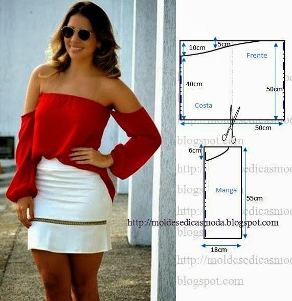 PASSO A PASSO MOLDE DE BLUSA Corte um retângulo de tecido com a altura e largura que pretende Dobre a meio o retângulo. Desenhe em linha curva no decote da