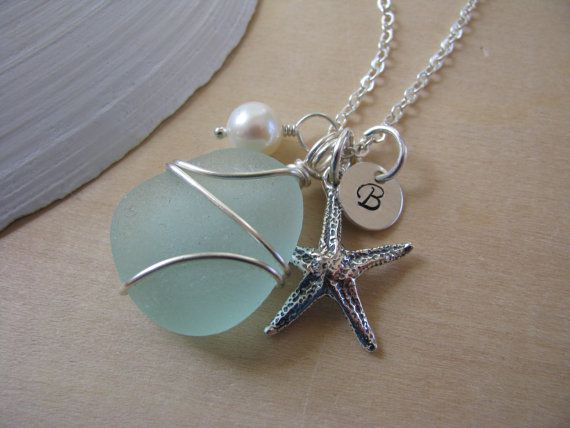Personalized Sea Glass Jewelry Bridesmaid Gift Starfish Necklace Teal Aqua Sea Foam Green Beach Glass Destination Wedding Sterling Silver via Etsy