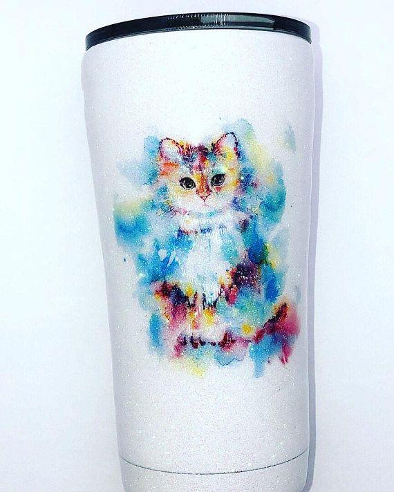 Watercolor Cat Glitter Tumbler 20 Oz Glitter Tumbler Custom