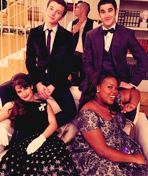 Chris Colfer, Darren Criss, Lea Michele, and Amber Riley
