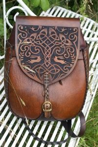large versatile Iona rucksack / shoulder bag with hand carved Tree Of Life design    Sky Raven Wolf
